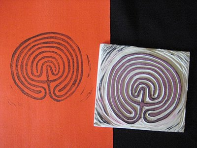 hand carved labyrinth stamp and image