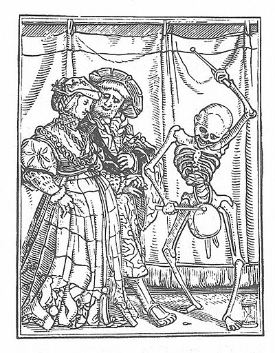 Death and the Lady, drawing by Holbein