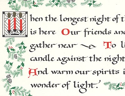 The Longest Night card hand-colored flames