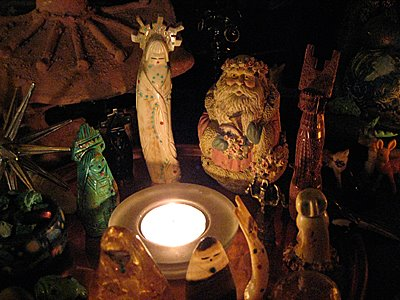 Zuni corn maiden and Green Santa