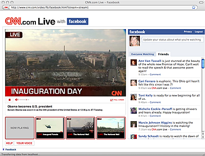 Obama inauguration screen shot