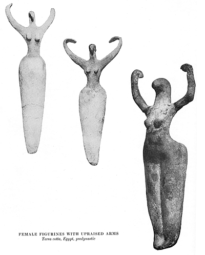 Nile goddess figures with upraised arms