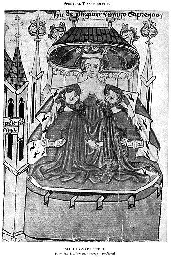 medieval book image of Sophia as Wisdom suckling the bearded patriarchs