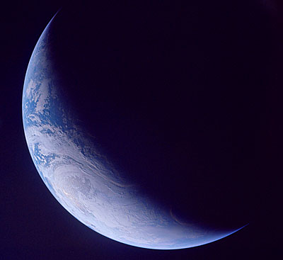 crescent Earth from space