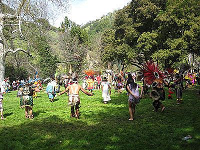 Azteca circle for spring equinox at Alum Rock Park
