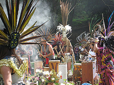 Mexica drummers for spring equinox