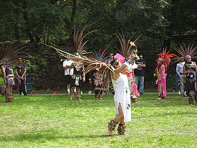 Azteca women making offering for spring equinox Alum Rock Park San Jose