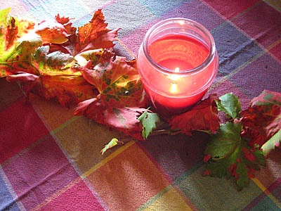 September Grapevine Leaves and Candle