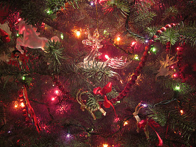 Yule Tree four-legged ornaments in a row