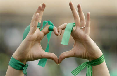 Iran 2009 Protest Heart Hands green ribbons