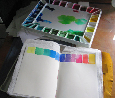 Studio watercolor palette & journal
