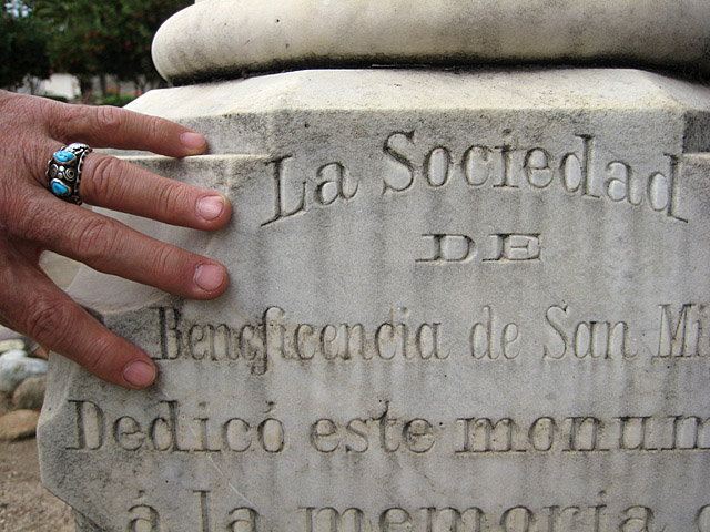 San Miguel stone carved letters