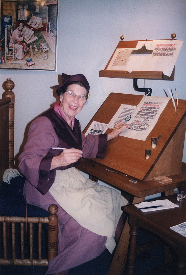 Alice as MedievalScribe at KeioUniversity, 1996