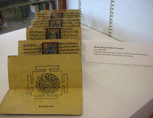 SCU 2013 Sacred Texts Exhibit Hindu prayer book