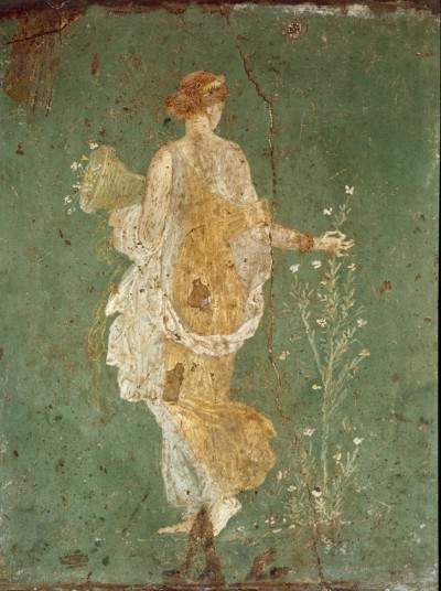 Roman, Spring, maiden gathering flowers. Fresco from the villa of Varano in Stabiae, c.15 BC.-60 AD. Museo Archeologico Nazionale, Naples, Italy