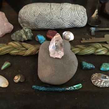 Autumn Equinox_Altar Crystal and Hag Stone